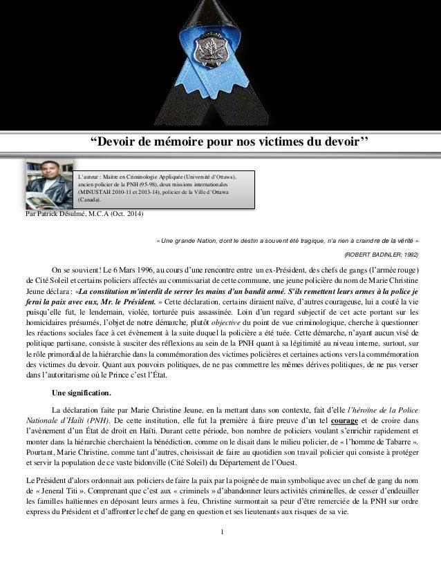"""1 Par Patrick Désulmé, M.C.A (Oct. 2014) """"Devoir de mémoire pour nos victimes du devoir'' « Une grande Nation, dont le des..."""