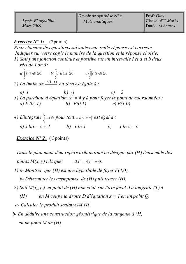 Exercice N° 1: (2points) Pour chacune des questions suivantes une seule réponse est correcte. Indiquer sur votre copie le ...