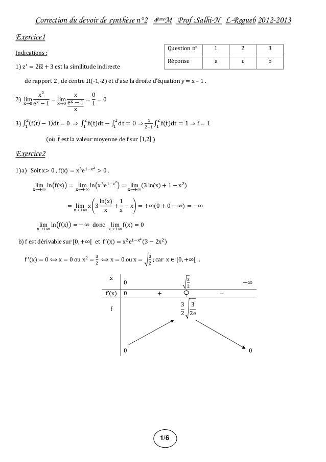Correction du devoir de synthèse n°2 4èmeM Prof :Salhi-N L-Regueb 2012-2013 Exercice1 Indications : 1) z = 2iz + 3 est la ...