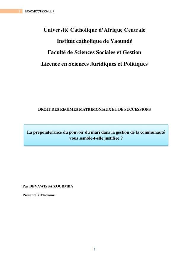 1  1 UCAC/ICY/FSSG/LSJP  Université Catholique d'Afrique Centrale  Institut catholique de Yaoundé  Faculté de Sciences Soc...