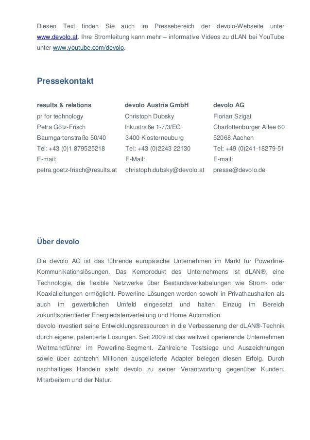 Diesen  Text  finden  Sie  auch  im  Pressebereich  der  devolo-Webseite  unter  www.devolo.at. Ihre Stromleitung kann meh...