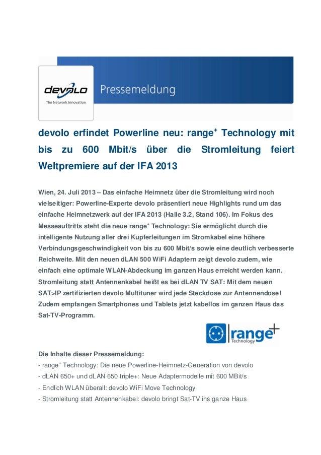 devolo erfindet Powerline neu: range+ Technology mit bis  zu  600  Mbit/s  über  die  Stromleitung  feiert  Weltpremiere a...