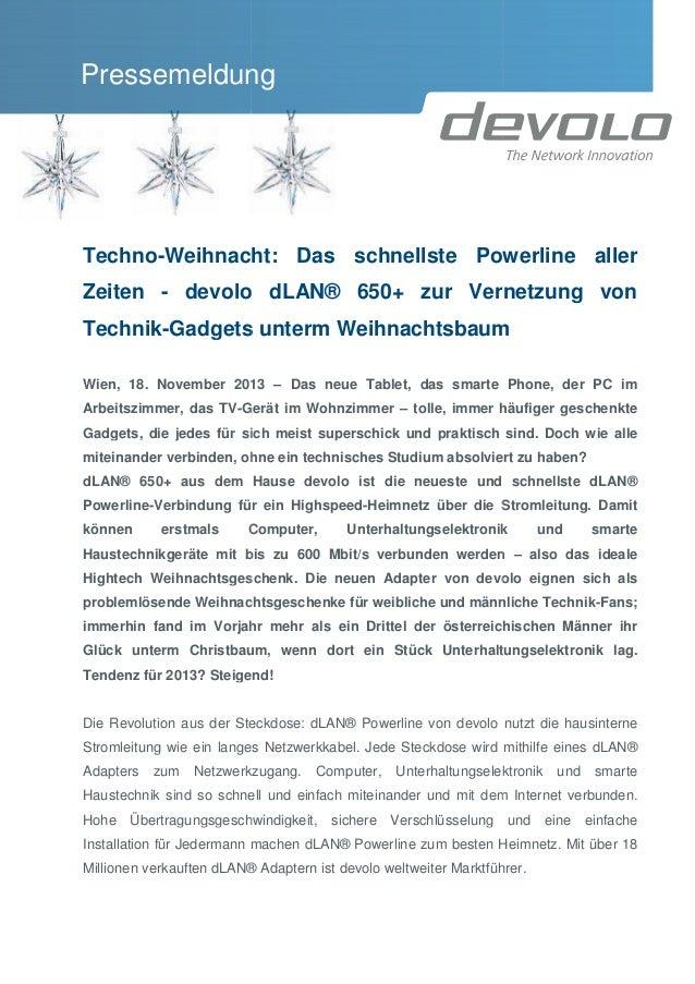 Pressemeldung  Techno-Weihnacht: Das schnellste Powerline aller Weihnacht: Zeiten - devolo dLAN® 650+ zur Vernetzung von T...