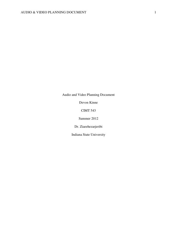 AUDIO & VIDEO PLANNING DOCUMENT                        1                   Audio and Video Planning Document              ...