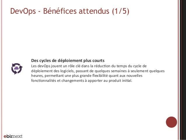 DevOps - Bénéfices attendus (1/5) Des  cycles  de  déploiement  plus  courts   Les  devOps  jouent  un ...