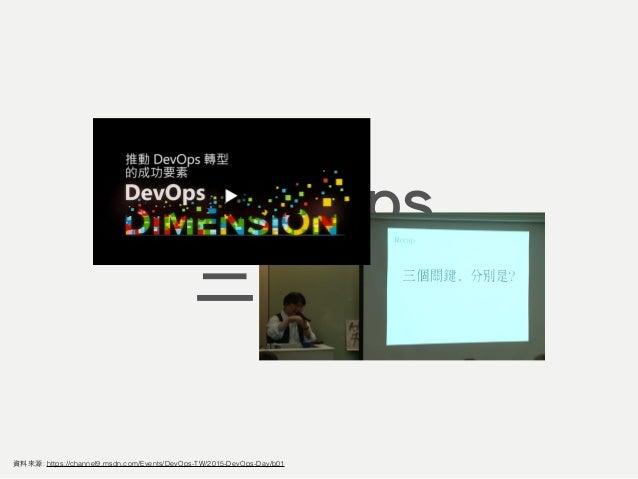 DevOps 三個關鍵 透明度 自動化 資料來源: https://channel9.msdn.com/Events/DevOps-TW/2015-DevOps-Day/b01 敏捷