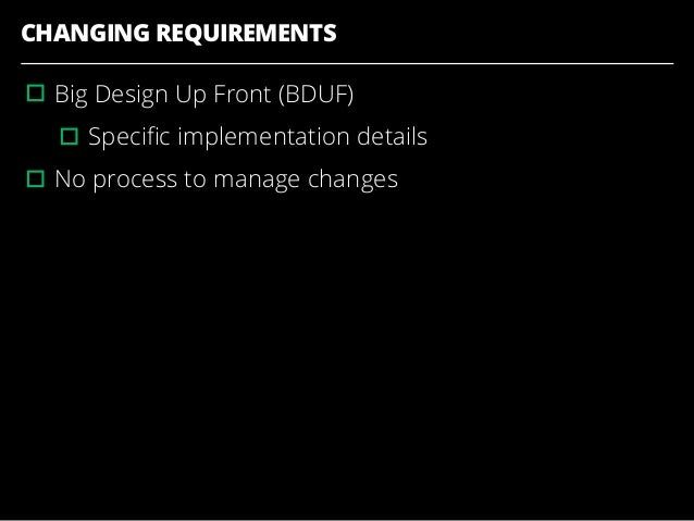 CHANGING REQUIREMENTS ▫︎Big Design Up Front (BDUF) ▫︎Specific implementation details ▫︎No process to manage changes