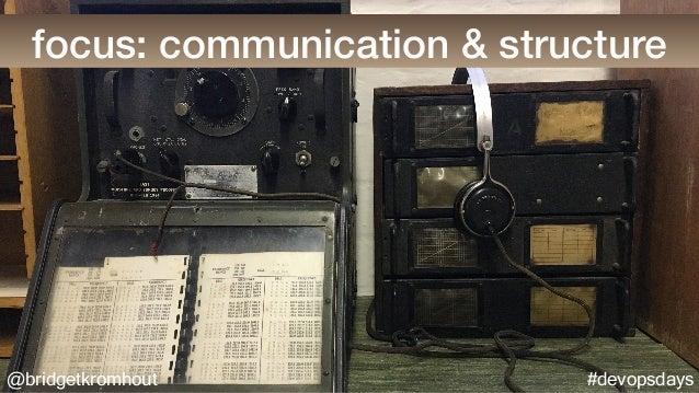 @bridgetkromhout #devopsdays focus: communication & structure