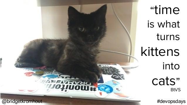 "@bridgetkromhout #devopsdays ""time is what turns kittens into cats"" BtVS"