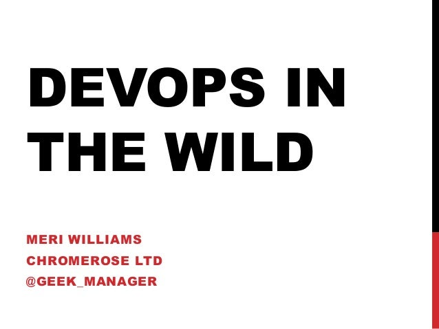 DEVOPS INTHE WILDMERI WILLIAMSCHROMEROSE LTD@GEEK_MANAGER
