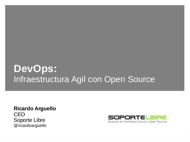 #rsgecu2015DevOps: Infraestructura Agil con Open Source DevOps: Infraestructura Agil con Open Source Ricardo Arguello CEO ...