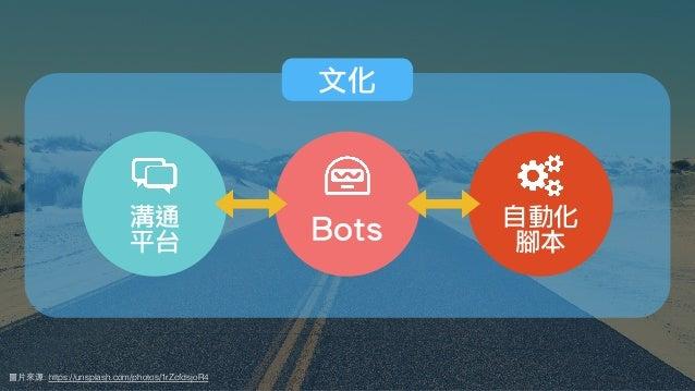 圖⽚來源: https://unsplash.com/photos/1rZcfdsjoR4 自動化 腳本Bots溝通 平台 文化