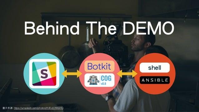 圖⽚來源: https://unsplash.com/photos/VUDJjCRXbHQ 自動化 腳本 Bots 溝通 平台 shell Behind The DEMO