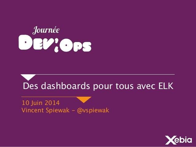 Des dashboards pour tous avec ELK 10 Juin 2014 Vincent Spiewak - @vspiewak