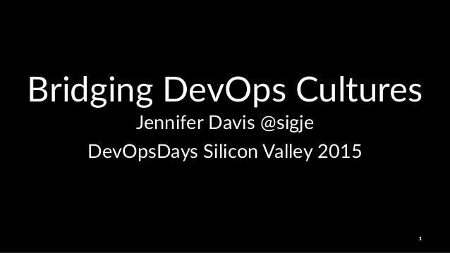 Bridging'DevOps'Cultures Jennifer'Davis'@sigje DevOpsDays)Silicon)Valley)2015 1
