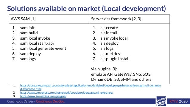 Continuous Delivery. Continuous DevOps. KYIV, 2020 Solutions available on market (Local development) 1. https://docs.aws.a...