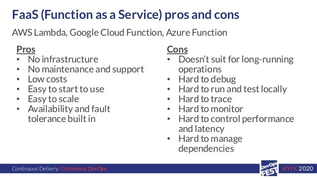 Continuous Delivery. Continuous DevOps. KYIV, 2020 FaaS (Function as a Service) pros and cons Pros • No infrastructure • N...