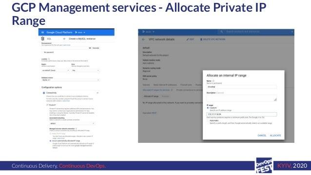 Continuous Delivery. Continuous DevOps. KYIV, 2020 GCP Management services - Allocate Private IP Range