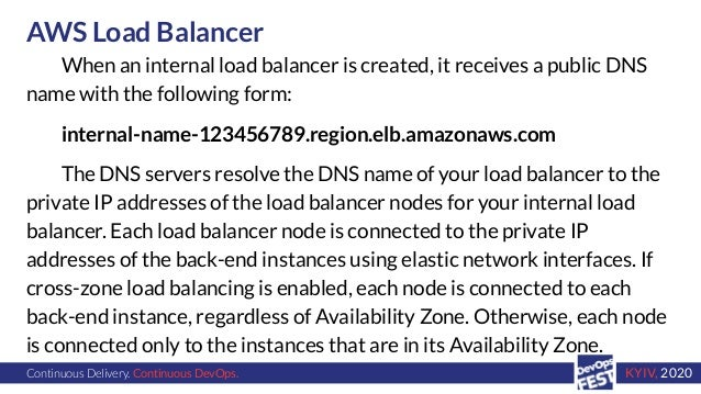 Continuous Delivery. Continuous DevOps. KYIV, 2020 AWS Load Balancer When an internal load balancer is created, it receive...