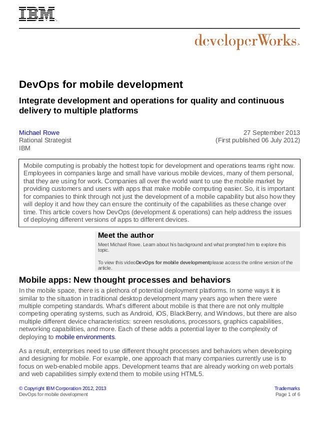 © Copyright IBM Corporation 2012, 2013 Trademarks DevOps for mobile development Page 1 of 6 DevOps for mobile development ...