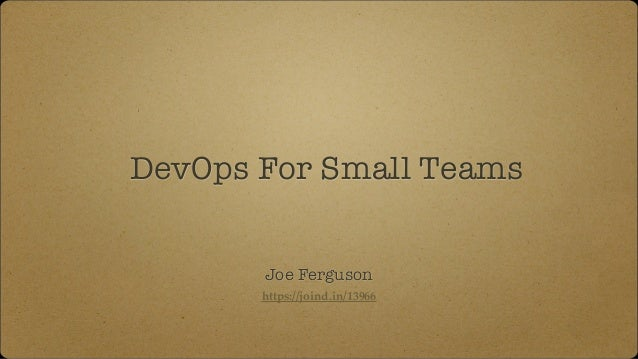 DevOps For Small Teams