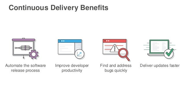 Continuous Delivery Benefits Improve developer productivity Find and address bugs quickly Deliver updates fasterAutomate t...