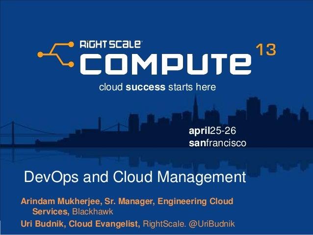 april25-26sanfranciscocloud success starts hereDevOps and Cloud ManagementArindam Mukherjee, Sr. Manager, Engineering Clou...