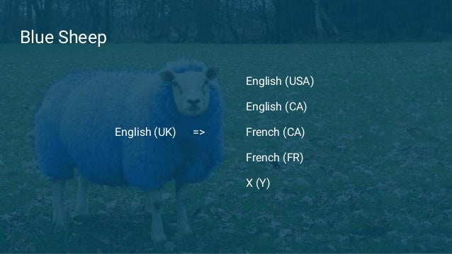 Blue Sheep English (UK) => English (USA) English (CA) French (CA) French (FR) X (Y)