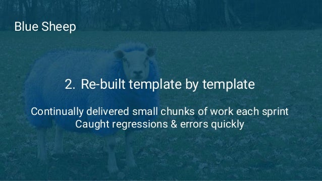 Blue Sheep 2. Re-built template by template Continually delivered small chunks of work each sprint Caught regressions & er...