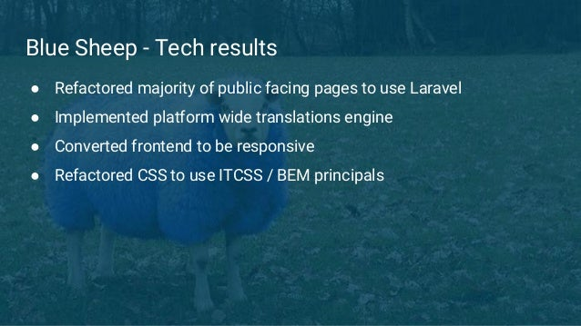 Blue Sheep - Tech results ● Refactored majority of public facing pages to use Laravel ● Implemented platform wide translat...