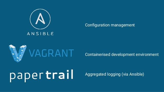 Configuration management Containerised development environment Aggregated logging (via Ansible)