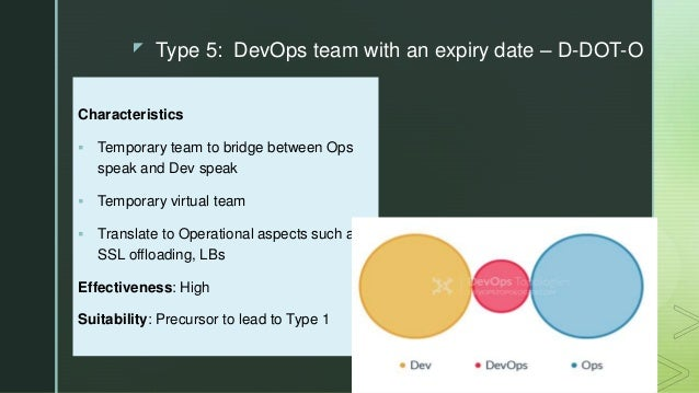 z Type 5: DevOps team with an expiry date – D-DOT-O Characteristics  Temporary team to bridge between Ops speak and Dev s...
