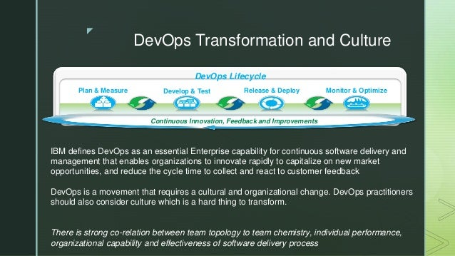 z DevOps Transformation and Culture Continuous Innovation, Feedback and Improvements DevOps Lifecycle Monitor & OptimizeRe...
