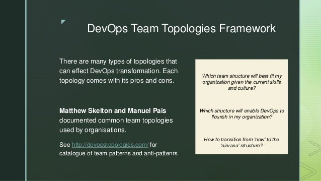 z DevOps Team Topologies Framework There are many types of topologies that can effect DevOps transformation. Each topology...
