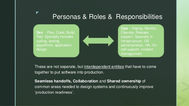 z Personas & Roles & Responsibilities These are not separate, but interdependent entities that have to come together to pu...