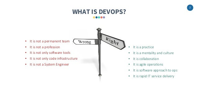 2 WHAT IS DEVOPS? • It is a practice • It is a mentality and culture • It is collaboration • It is agile operations • It i...