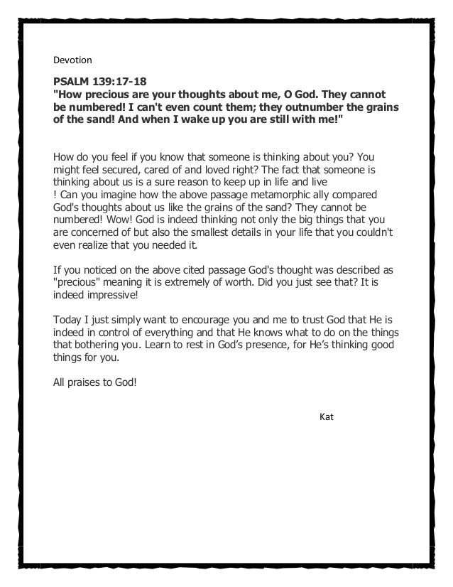 """DevotionPSALM 139:17-18""""How precious are your thoughts about me, O God. They cannotbe numbered! I cant even count them; th..."""
