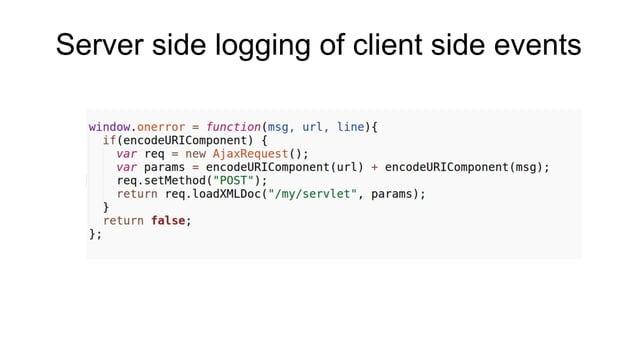 Server side logging of client side events
