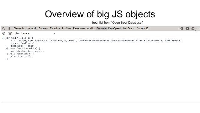"""Overview of big JS objects  beer list from """"Open Beer Database"""""""