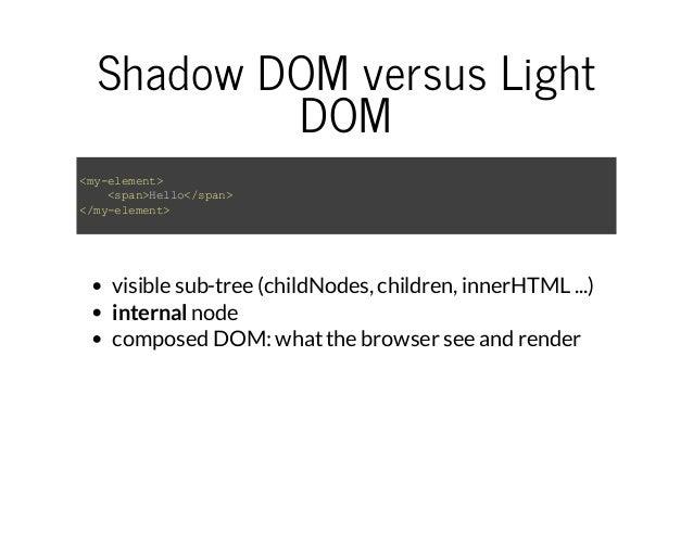 Shadow DOM versus Light  DOM  <my-element>  <span>Hello</span>  </my-element>  visible sub-tree (childNodes, children, inn...