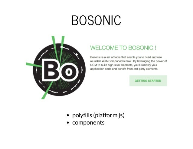 BOSONIC  polyfills (platform.js)  components