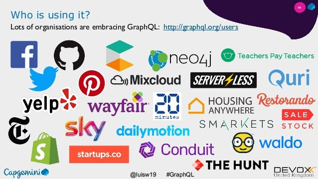 #GraphQL@luisw19 Who is using it? Lots of organisations are embracing GraphQL: http://graphql.org/users 01