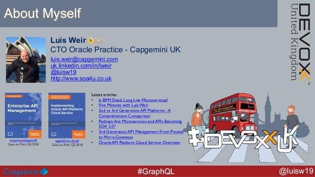 @luisw19#GraphQL Luis Weir CTO Oracle Practice - Capgemini UK luis.weir@capgemini.com uk.linkedin.com/in/lweir @luisw19 ht...