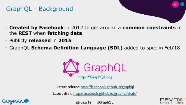 #GraphQL@luisw19 GraphQL - Background • Created by Facebook in 2012 to get around a common constraints in the REST when fe...