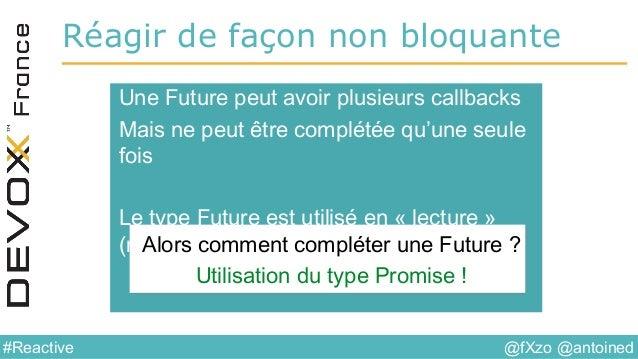 @fXzo @antoined#Reactive Réagir de façon non bloquante Une Future peut avoir plusieurs callbacks Mais ne peut être complét...