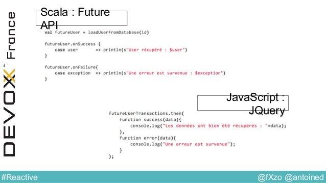 @fXzo @antoined#Reactive Scala : Future API Scala : Future API JavaScript : JQuery JavaScript : JQuery