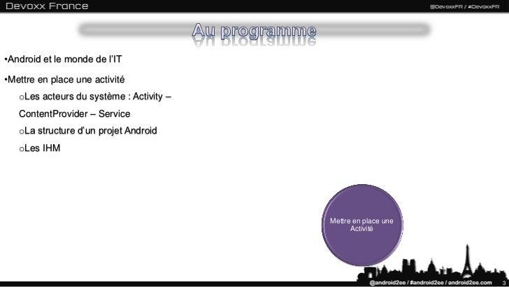 """""""Android A Quick Course (Fr) Part I"""" by Android2EE (Mathias Seguy) à la Devoxx France 2012 Slide 3"""