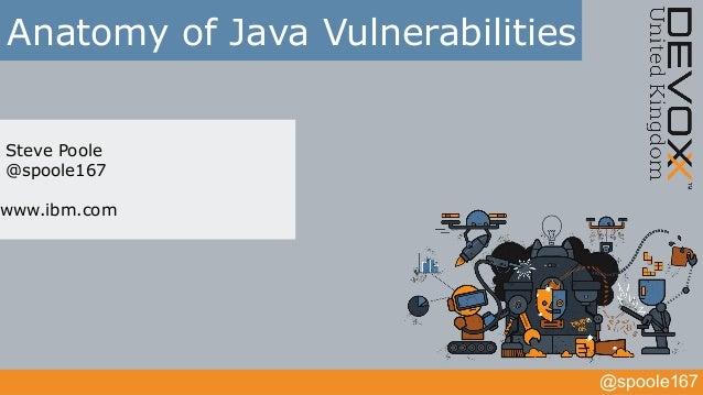 @spoole167 Anatomy of Java Vulnerabilities Steve Poole @spoole167 www.ibm.com