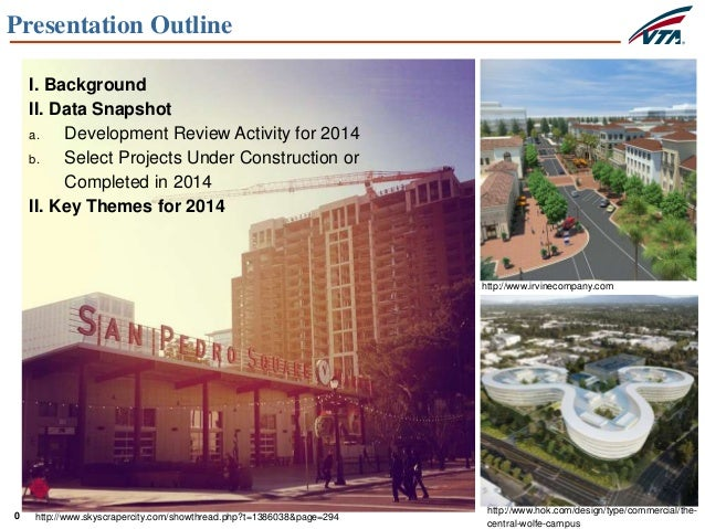 0 Presentation Outline I. Background II. Data Snapshot a. Development Review Activity for 2014 b. Select Projects Under Co...