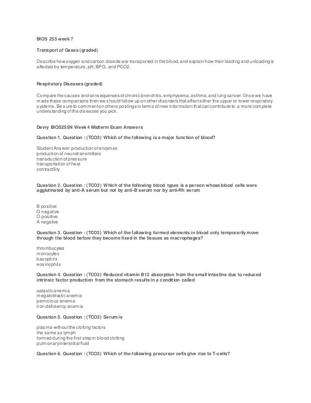 Berühmt Anatomy And Physiology Blood Test Questions Ideen ...